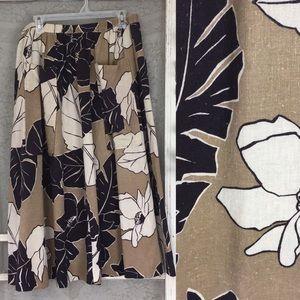 VTG Black & Brown Tropical Midi Skirt W/ Pockets